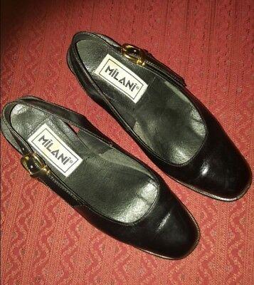 Milani Sling-Back Block Heel Pump (Black, Size 4.5) Pre-Owned Block Heel Slingback Pump