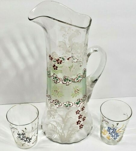 Antique Victorian Hand Painted 1 of a Kind Lemonade Pitcher with 2 Glasses