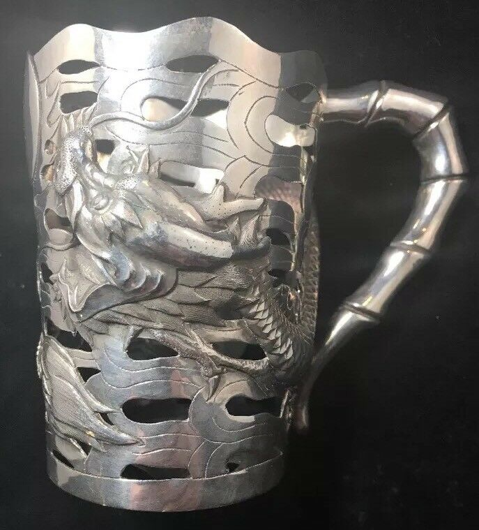 Chinese Sterling Silver Dragon And Bamboo Cup