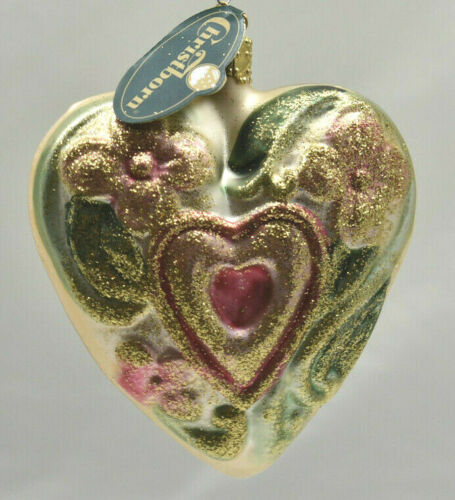 Christborn Large Floral Heart Glass Christmas Ornament Made in Germany