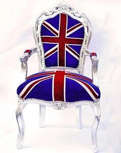 Fauteuil rococo en bois argente union jack drapeau anglais angleterre baroque - Fauteuil drapeau anglais ...