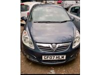FOR SALE/ PART EXCHANGE/HPI CLEAR/BLUE METALLIC 2007 PLATE VAUXHALL CORSA 1.2 DIESEL, 5DR, MANUAL