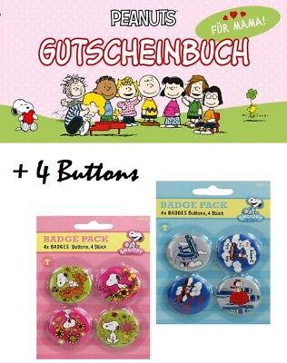 ♥ Snoopy Geschenkbuch für Mama mit vier Snoopy Buttons Peanuts Geschenkset NEU ♥