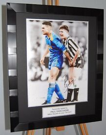 Paul Gascoigne with Vinnie Jones Newcastle Signed and Framed Photo