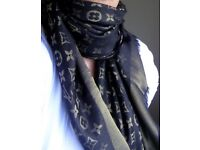 Louis Vuitton black /gold shine scarf / shawl brand new with lv tags
