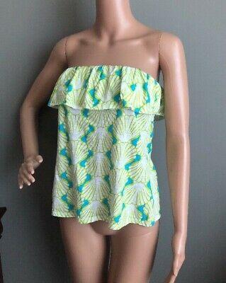 Crown & Ivy Green White Turquoise Shell Print Sleeveless Ruffle Tube Top XS Ruffle Printed Shell