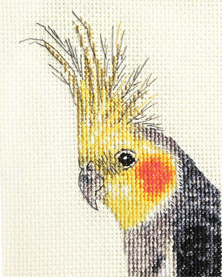 COCKATIEL, pet, bird ~ Full counted cross stitch kit + materials