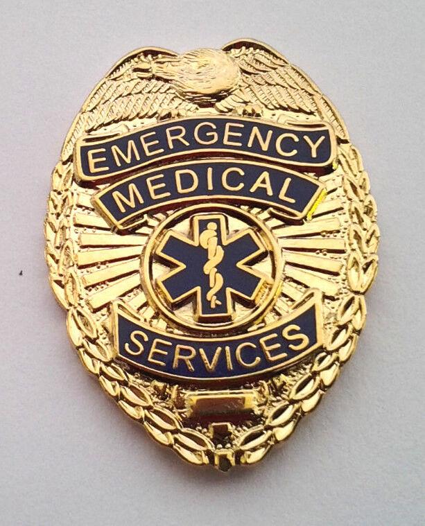 "EMERGENCY MEDICAL SERVICES BADGE (1-1/8"" High) EMS Hat Pin 70110 HO"