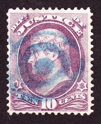 US O29 10c Justice Department Used VF w/ Blue Target Fancy Cancel SCV $100+