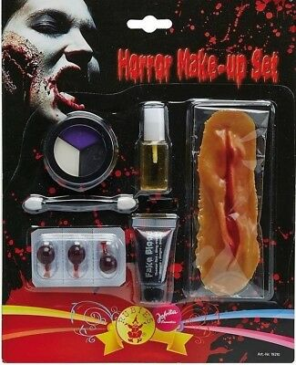 Halloween Horror Make-up Set mit Narbe und Kunstblut Horror Schminke ()