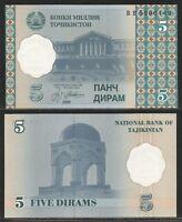 Tajikistan - 5 Diram 1999 Pick 11a Unc -  - ebay.it