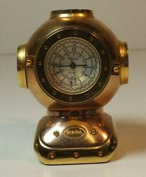 Bulova Miniature Brass Antique Scuba DIving Helmet Clock B0589 MS80