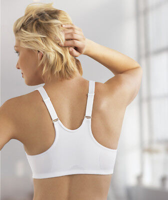 NEW Bra msrp $42 FRONT-CLOSE Satin & Lace RACERBACK (Wicks-DRY) White - Adjustable Strap Front Close Bra