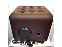 RMS 20W BOOM Bluetooth Ottoman Speaker with Builtin Subwoofer Amplifier Seat Furniture