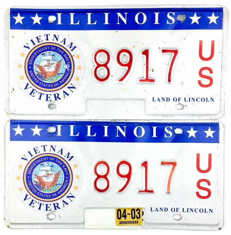 2003 Illinois VIETNAM VETERAN License Plate PAIR #8917