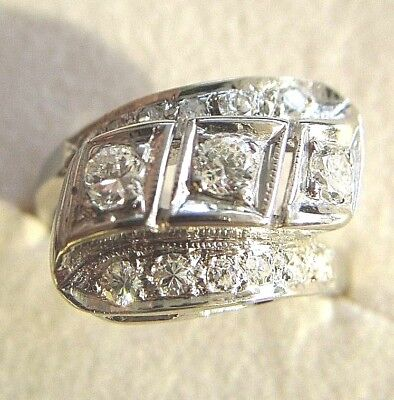VINTAGE 14K ART DECO DIAMOND WITH ROUND CLEAN DIAMONDS GOLD RING SIZE 6 1/4