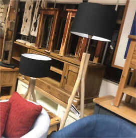 Pair of Besp-Oak Danish Wooden Tripod Table&Floor Lights with Black Shades