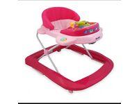 Girls pink baby walker
