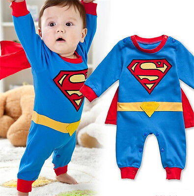 Superman Baby Outfit (Superman Baby Romper Boys Girls Marvel Babygrow Outfit Fancy Dress New Super)