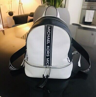 Michael Kors Black & White Monogram  Leather Backpack ,excellent Condition!