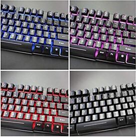 RK100 3 Color LED Backlit Mechanical Feeling Gaming Keyboard Black UK Layout (Red/Purple/Blue).