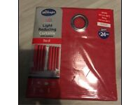 """Light reducing curtains with eyelets, red 66x54"""""""