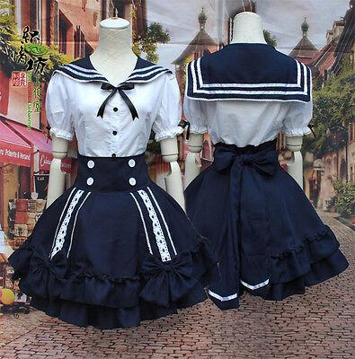 Women's Navy Sailor Suit Japanese Maid Lolita tops & Skirt Cosplay Dress Skirts - Sailor Suit