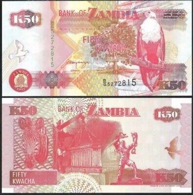 2 Pcs Set Zambia 500 1000 Kwacha 2011 P-43h-44h Fish Eagle Polymer Unc
