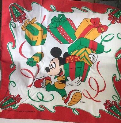 "Mickey Mouse Disney CHRISTMAS BANDANA ~ 22""X22"" NWT Presents Red Green Gold - Gold Bandanas"