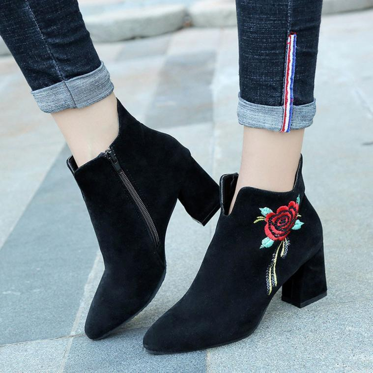 Womens Embroidered Down High Heel Shoes Leather Loafer Casual Mid Calf Boots