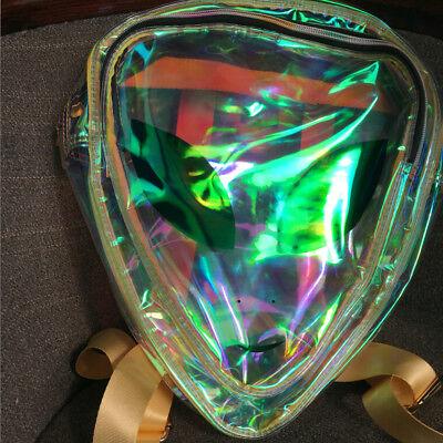 Clear Alien Backpack (Green Hologram Holographic Girl Backpack Bookbag PVC Bag Purse Alien Smile)