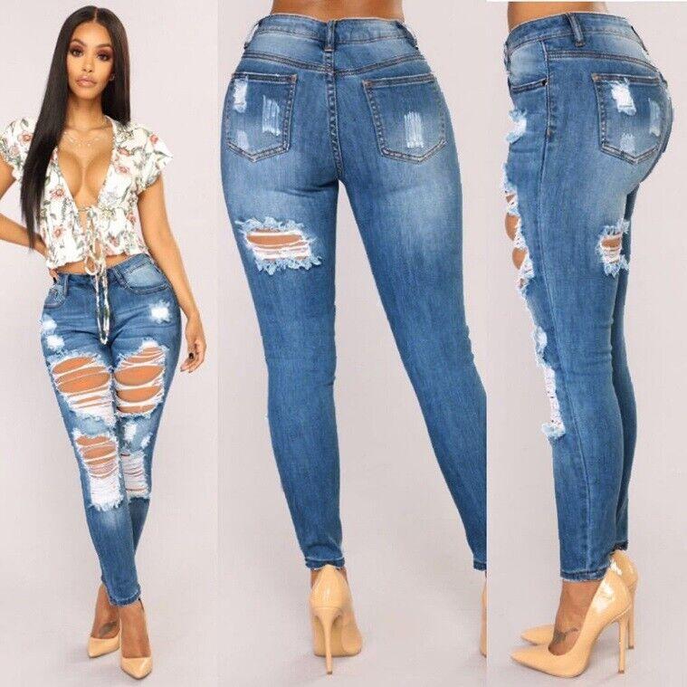 Pantalones Jeans De Tiro Alto Para Mujer Rasgados Cintura Alta Levanta Cola Moda Ebay