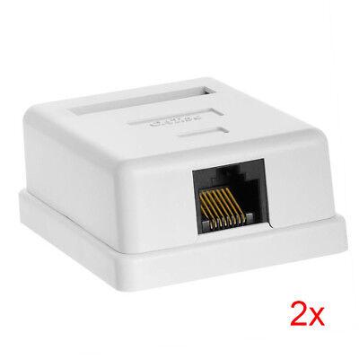 2pcs 1-Port Single-Port Cat5e RJ45 Ethernet Surface Mount Box w/ Keystone Jack  1 Port Cat5e Surface Jack