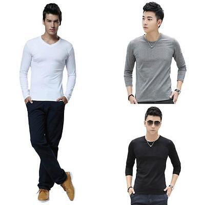 Men T-Shirts Slim Fit Cotton Crew Neck Long Sleeve Casual Solid T-Shirt Tops