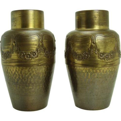 German Hand-Hammered Arts & Crafts Vases - WMF - Pair