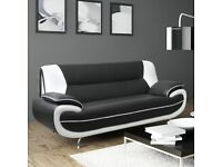 3 Seater Faux Leather Black and White Modern Sofa - Like New - Paid £399 from Wayfair / Living Room