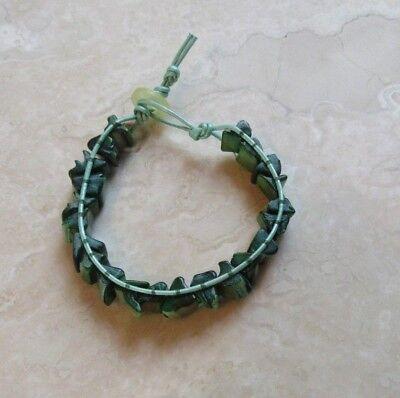 Vintage Button Bracelet Green (Green Bracelet, Green Seashell on Mint Green Leather Bracelet w vintage button )