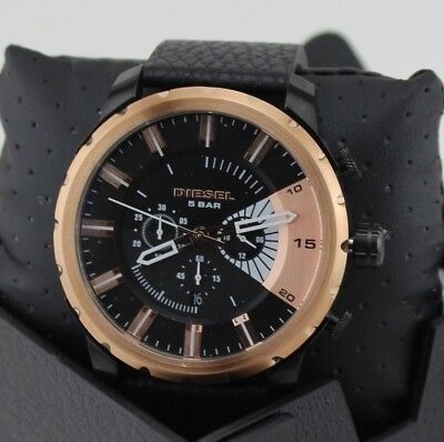 NEW AUTHENTIC DIESEL STRONGHOLD BLACK ROSE GOLD CHRONOGRAPH MEN'S DZ4390 WATCH