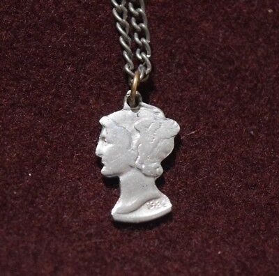 Cut-Out Coin Jewelry Mercury Dime or Winged Liberty Head No Rim On Chain 1936 ()