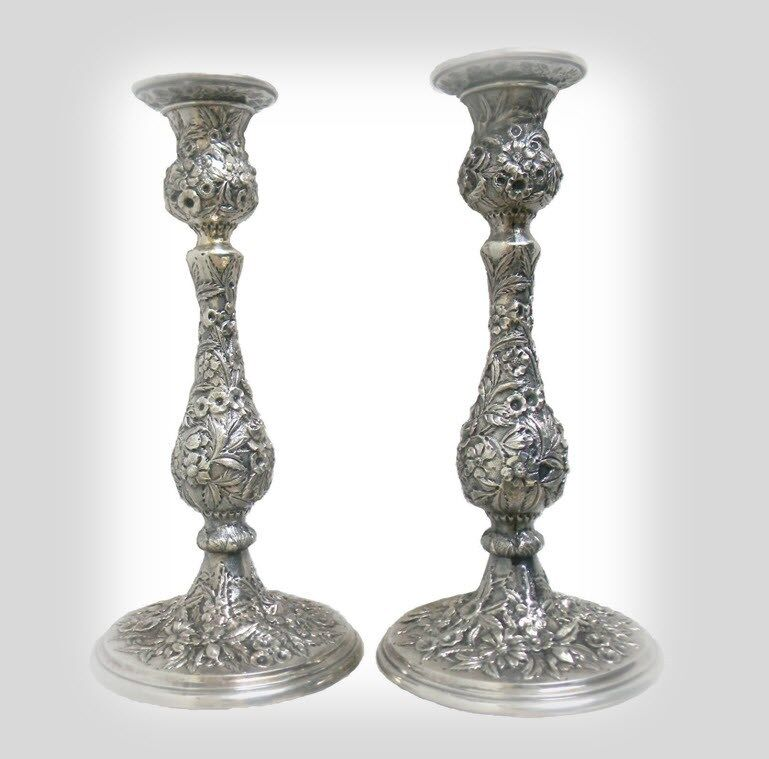 S Kirk and Son tall rare sterling silver candlesticks - Repousse