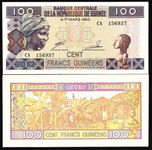 GUINEA 100 FRANCS 1960 UNC BANKNOTE WORLD PAPER MONEY (P-35)