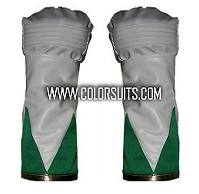 Power Ranger Costume Green (Green Man Power Hero Rangers style Gloves Cuffs Synthetic Leather)