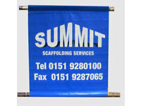"""SCAFFOLD BANNERS 40"""" X 44"""" WITH POLE TUBES TOP AND BOTTOM DOUBLE SIDED PRINT"""