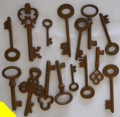 Rusty ornate Skeleton 1800's style keys 15 pc lot steampunk - Ornate Key
