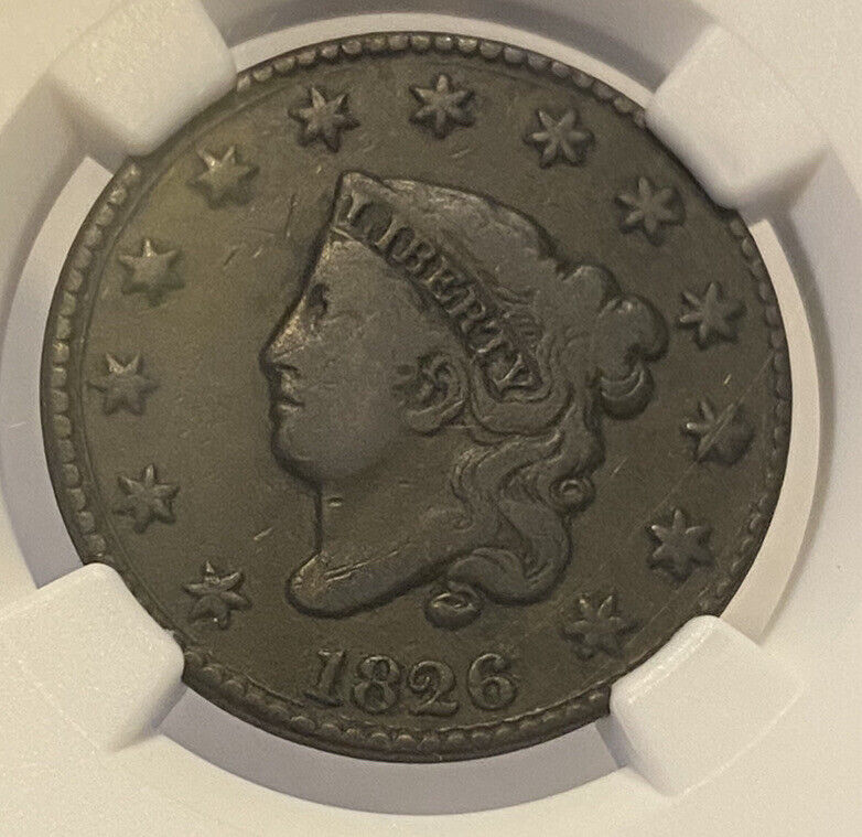 1826 NGC VG 10 BN Coronet Head Large One Cent Graded Certified Nice Old Penny