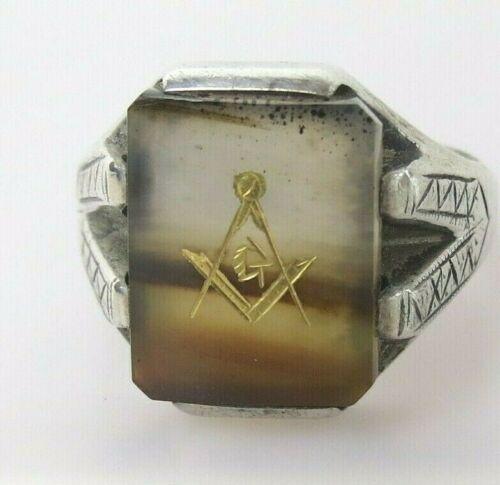 Big sz 12 VTG Masonic ring sterling silver gold embossed over agate
