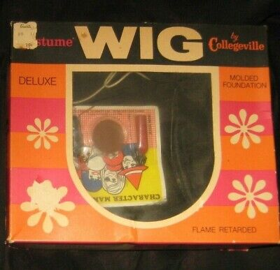 Vintage 1960's Halloween Costume Wig with accessories Deluxe Witch Collegeville
