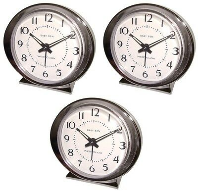 (3) ea Westclox Baby Ben 11611QA Retro Silver Battery Operated Alarm Clock