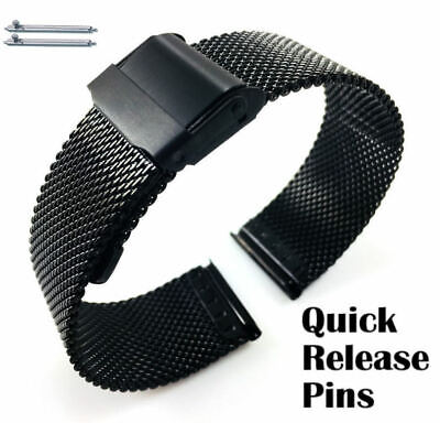 Black Steel Adjustable Mesh Bracelet Watch Band Strap Double Lock Clasp #5026 Black Mesh Bracelet Watch