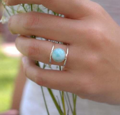 Larimar Ring Solid 925 Sterling Silver Ring Handmade Ring Band Ring Women Ring 9